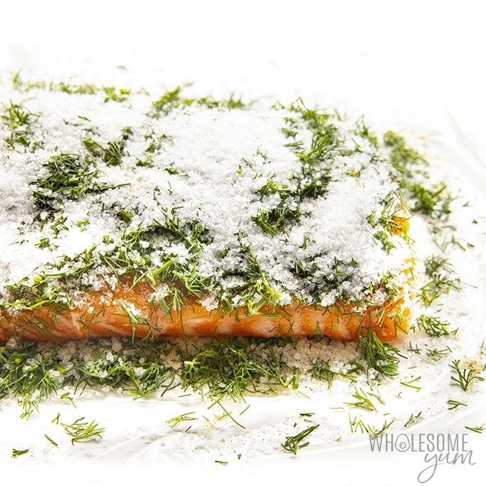 Salmon sprinkled with salt, white pepper, and dill