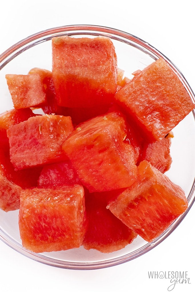 Is watermelon keto? This cubed watermelon in a bowl may be keto in small amounts.