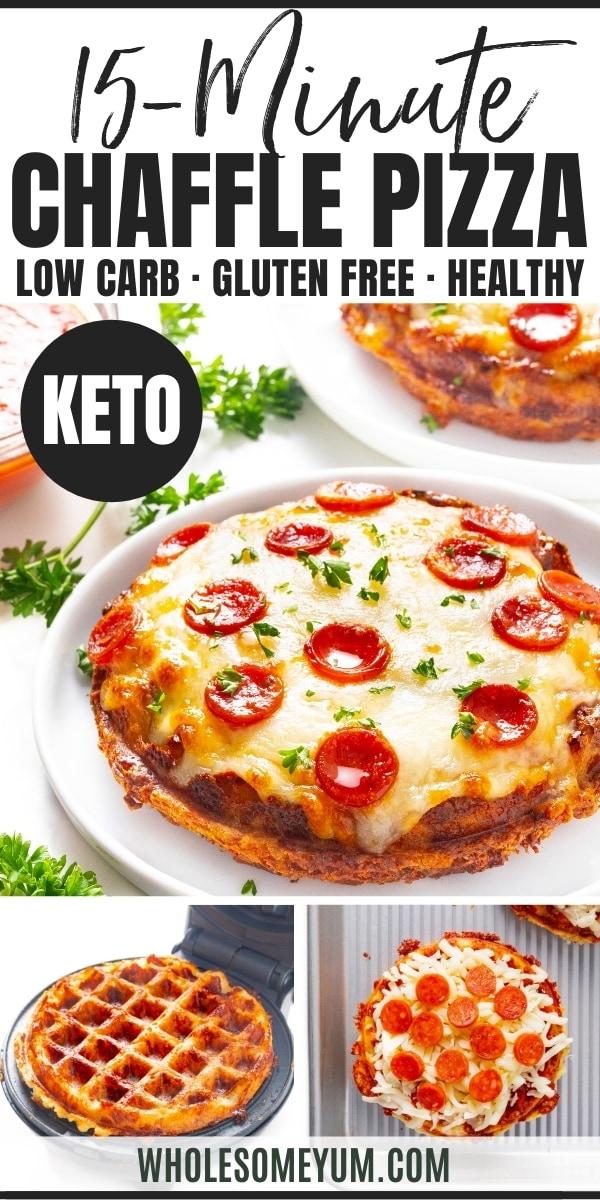 Keto chaffle pizza recipe pin