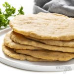 Stack of low carb flatbread rounds on a plate