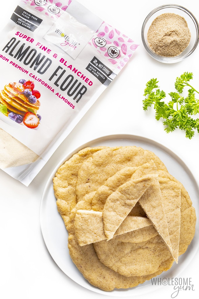 Stack of low carb pita bread with almond flour and psyllium husk powder