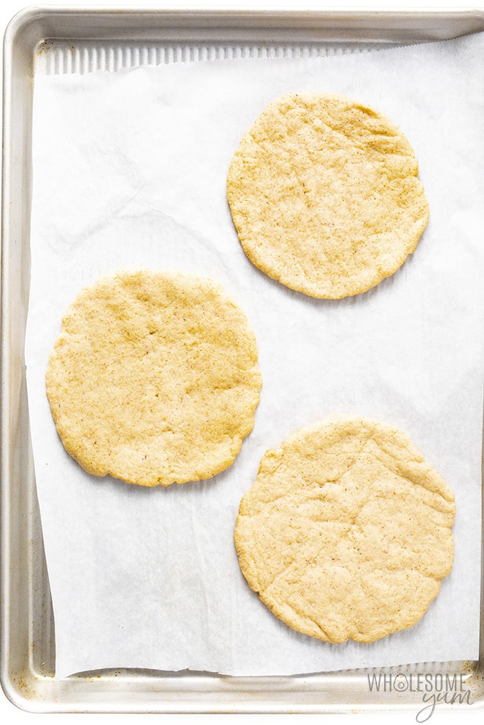 Baked low carb pita bread on baking sheets