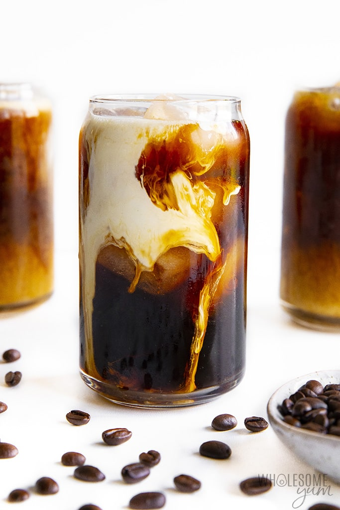 3 glasses of low carb iced coffee