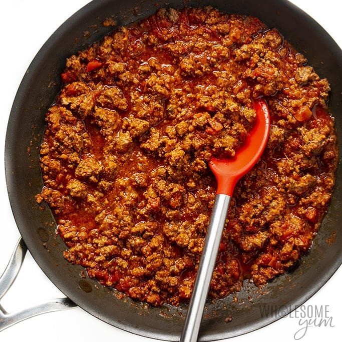 Meat sauce in a saute pan for low carb lasagna
