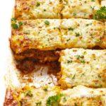 Keto lasagna recipe in a baking dish cut into pieces