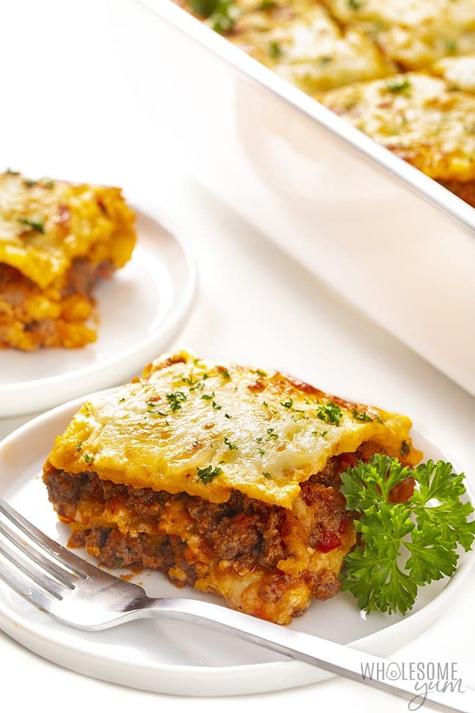 Plate with a slice of keto lasagna