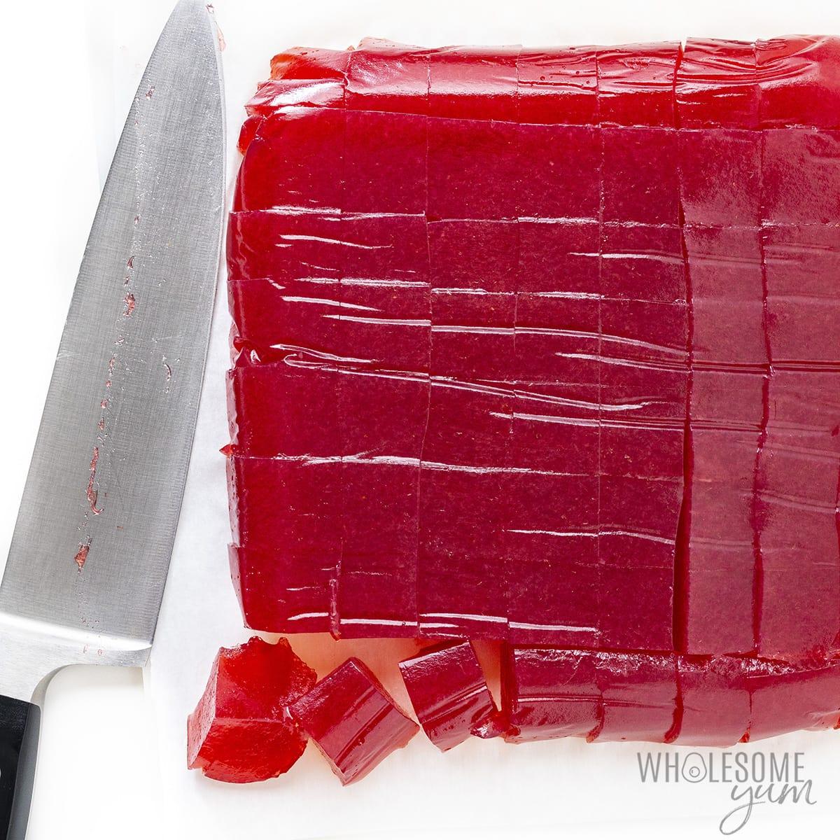 Keto jello sliced in squares