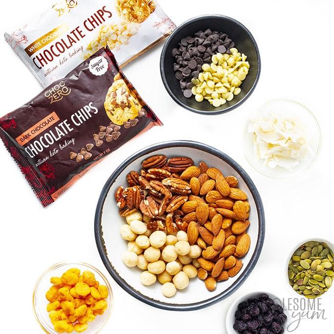 Ingredients to make keto snack mix