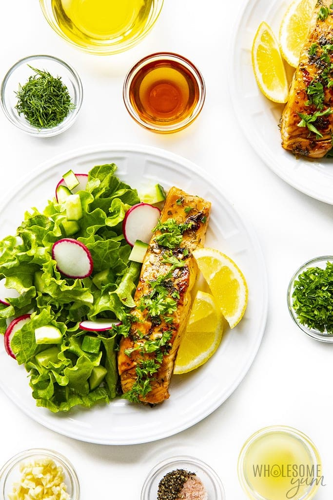 Best salmon marinade after cooking on a plate with salad