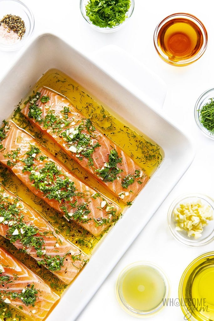 Easy salmon marinade with fillets in baking dish