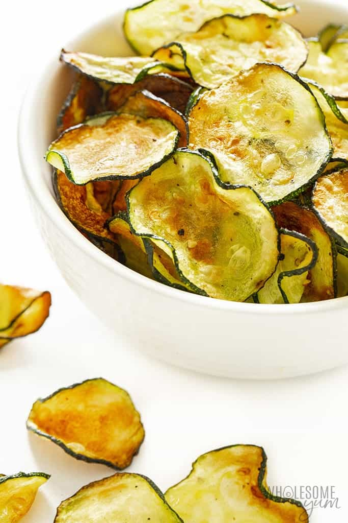Zucchini chips in a white bowl