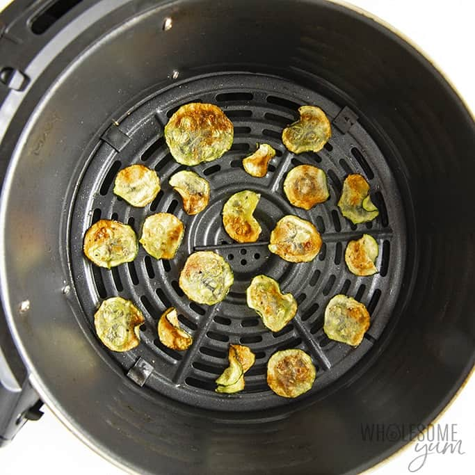 Zucchini chips in the air fryer after cooking
