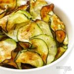 Air fryer zucchini chips recipe in a bowl