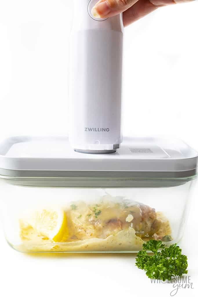 Fresh & Save container with lemon parmesan chicken recipe inside