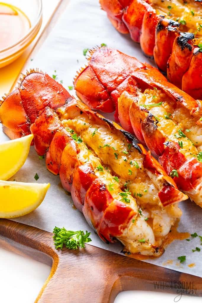Grilled lobster tails close up