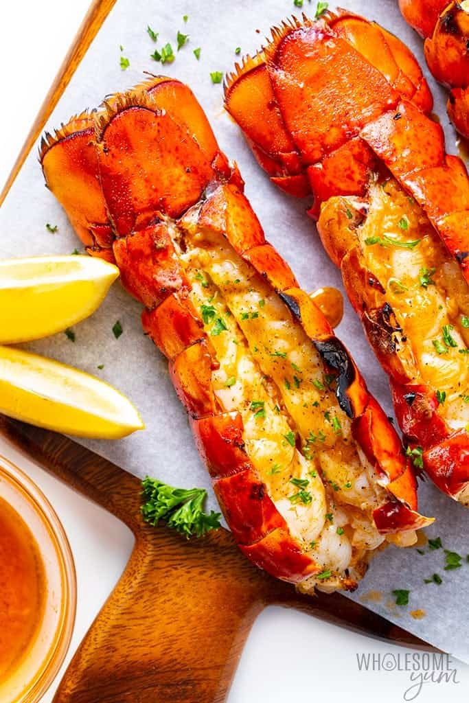 Overhead view of lobster tail cooked on the grill