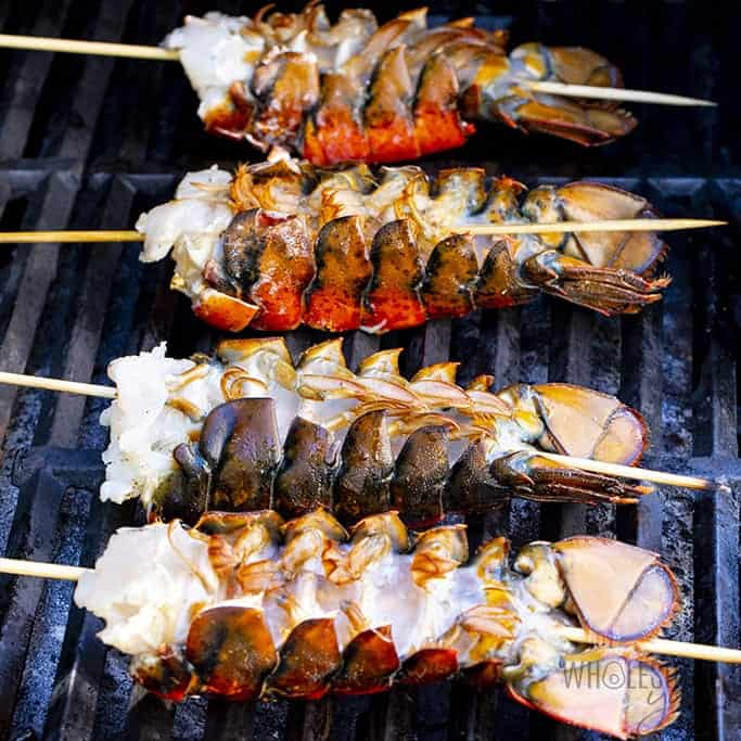 Lobster tails on grill