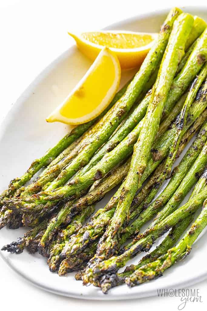 Finished grilled asparagus on a platter