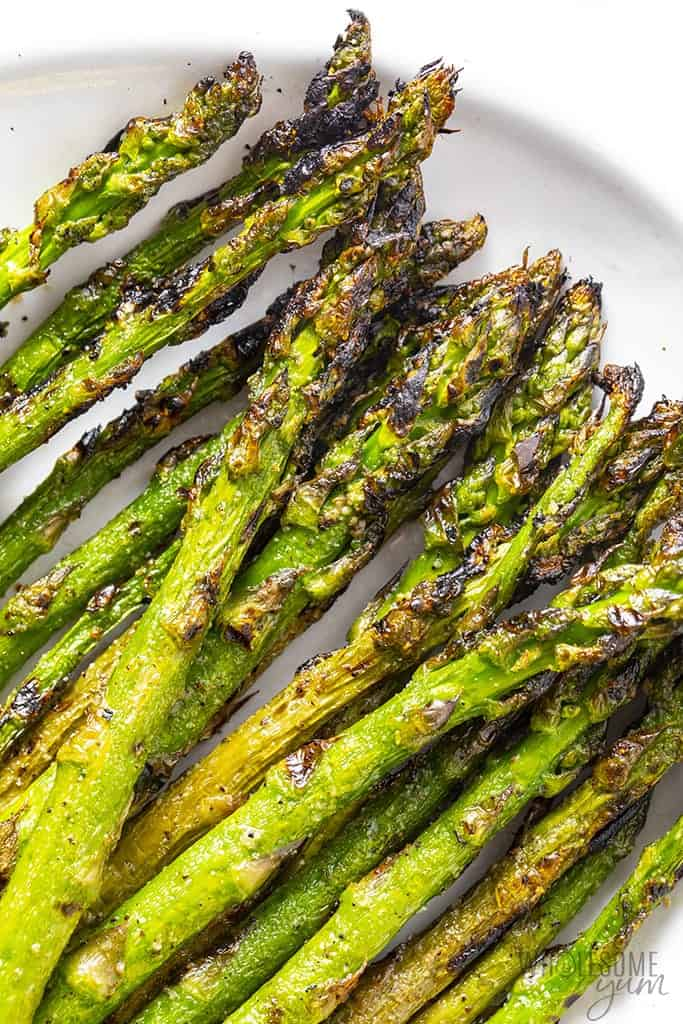 Close up of asparagus on a plate