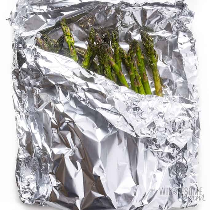 Asparagus wrapped in foil packet for grilling