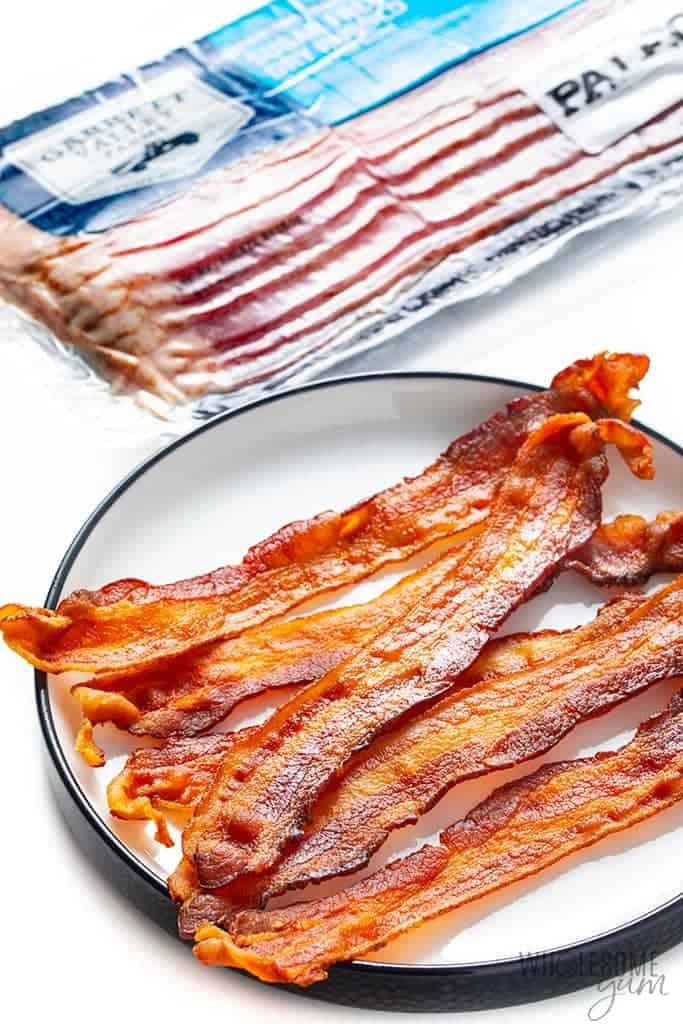 Plate of crispy microwaved bacon