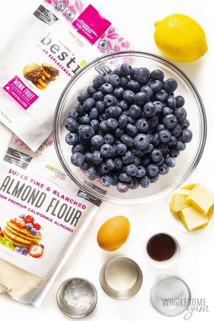 Healthy blueberry cobbler ingredients