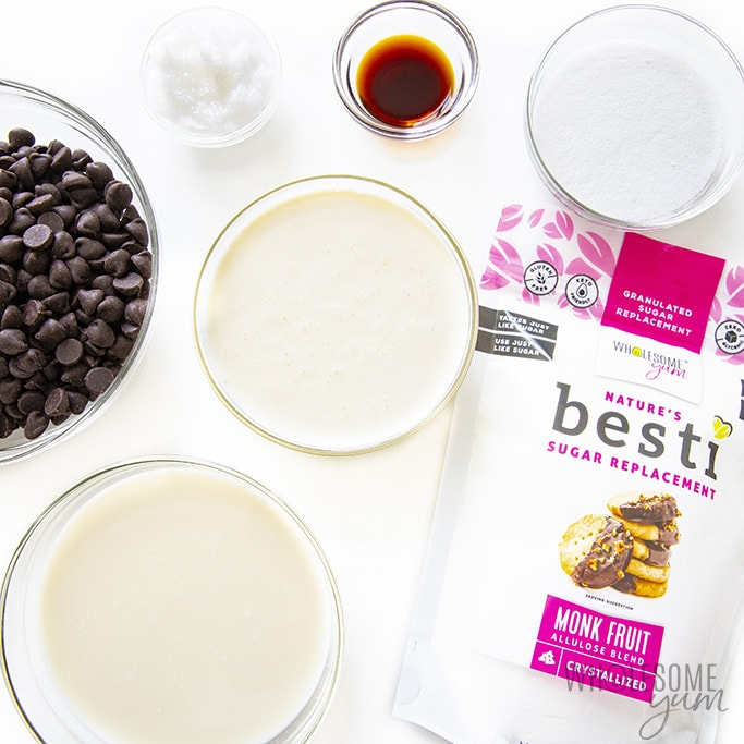 Ingredients to make keto ice cream bars