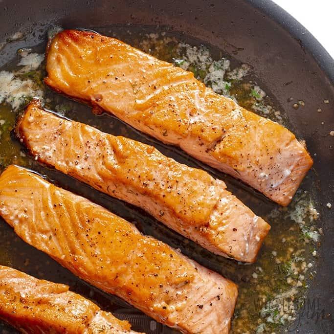 Pan seared salmon recipe in a skillet