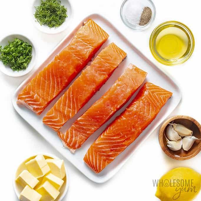 Ingredients to make pan fried salmon