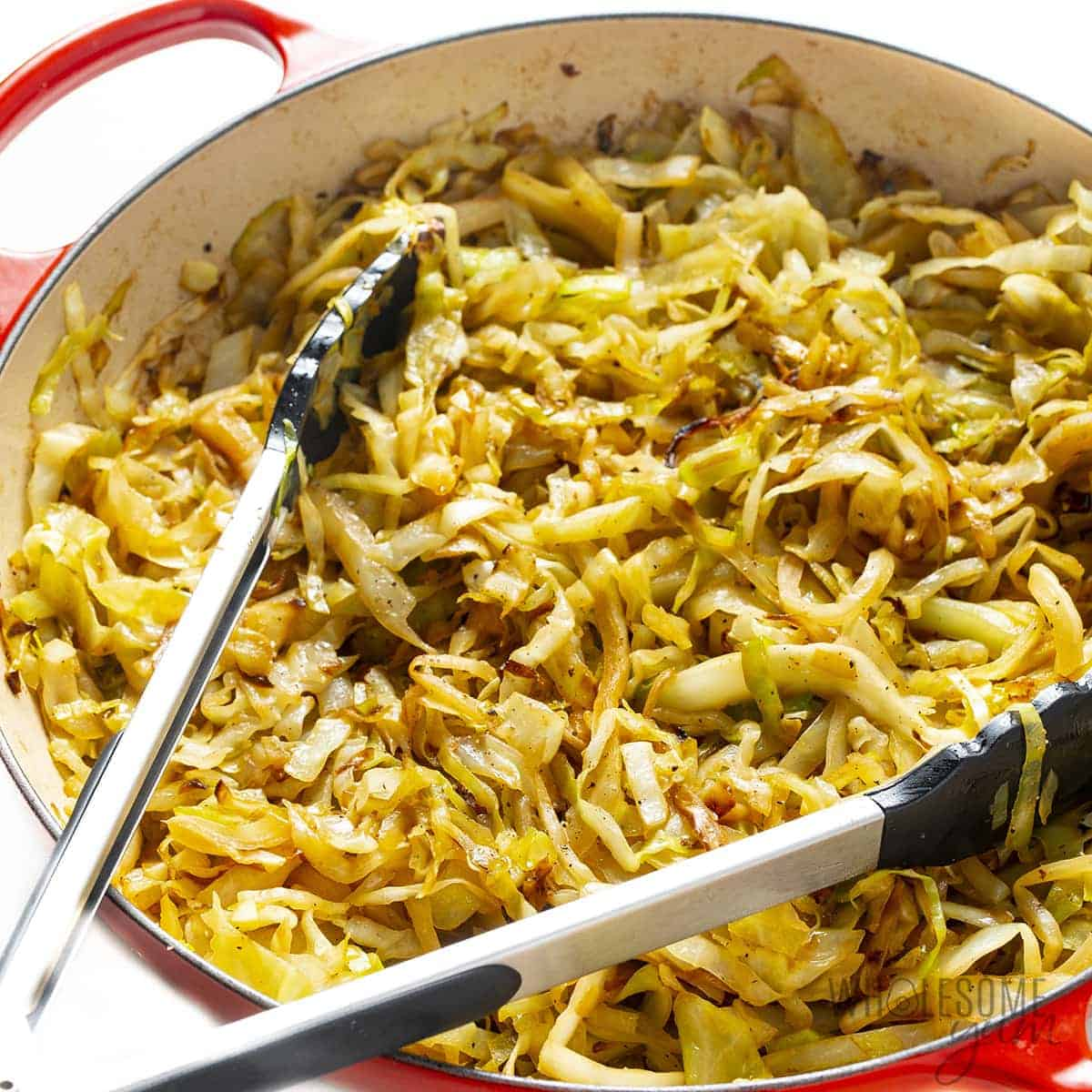 Finished sauteed cabbage recipe in a pan