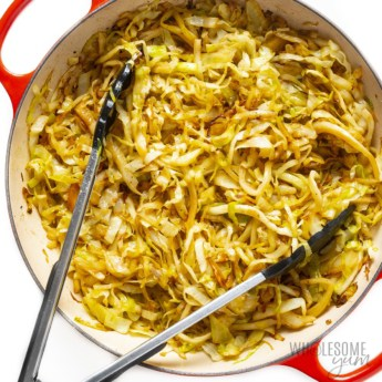 Sauteed cabbage recipe in a pan