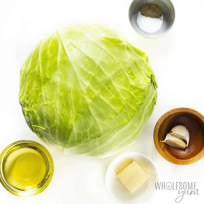 Sauteed cabbage ingredients in bowls