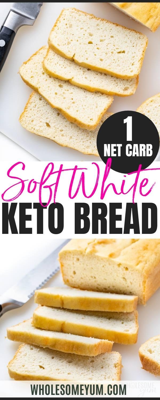 Soft white keto bread recipe pin