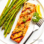 Perfect grilled salmon on a plate