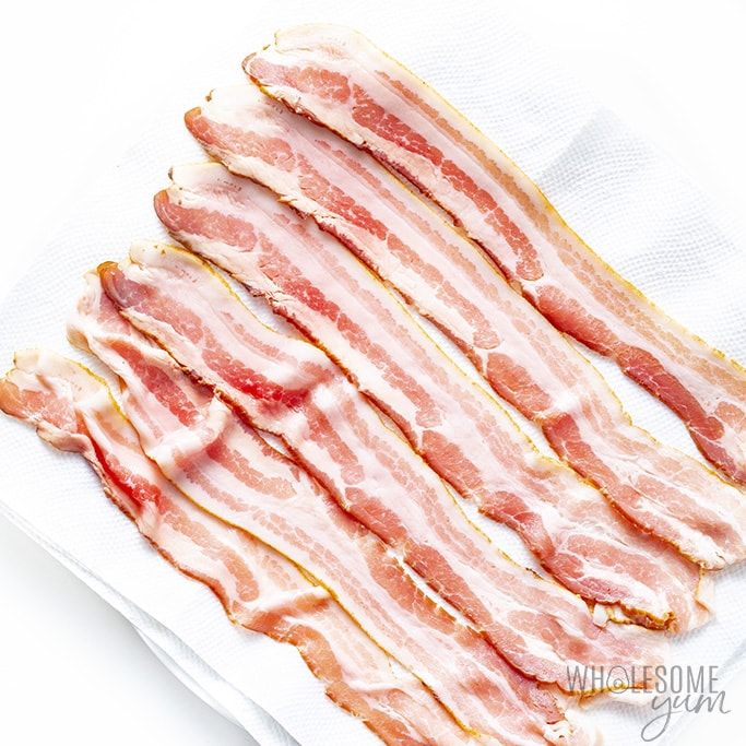 Bacon on a plate with paper towel