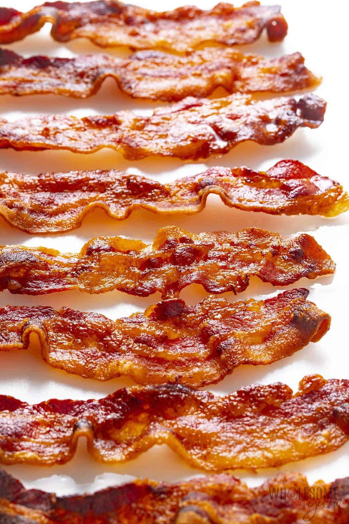Air fryer bacon on a white surface