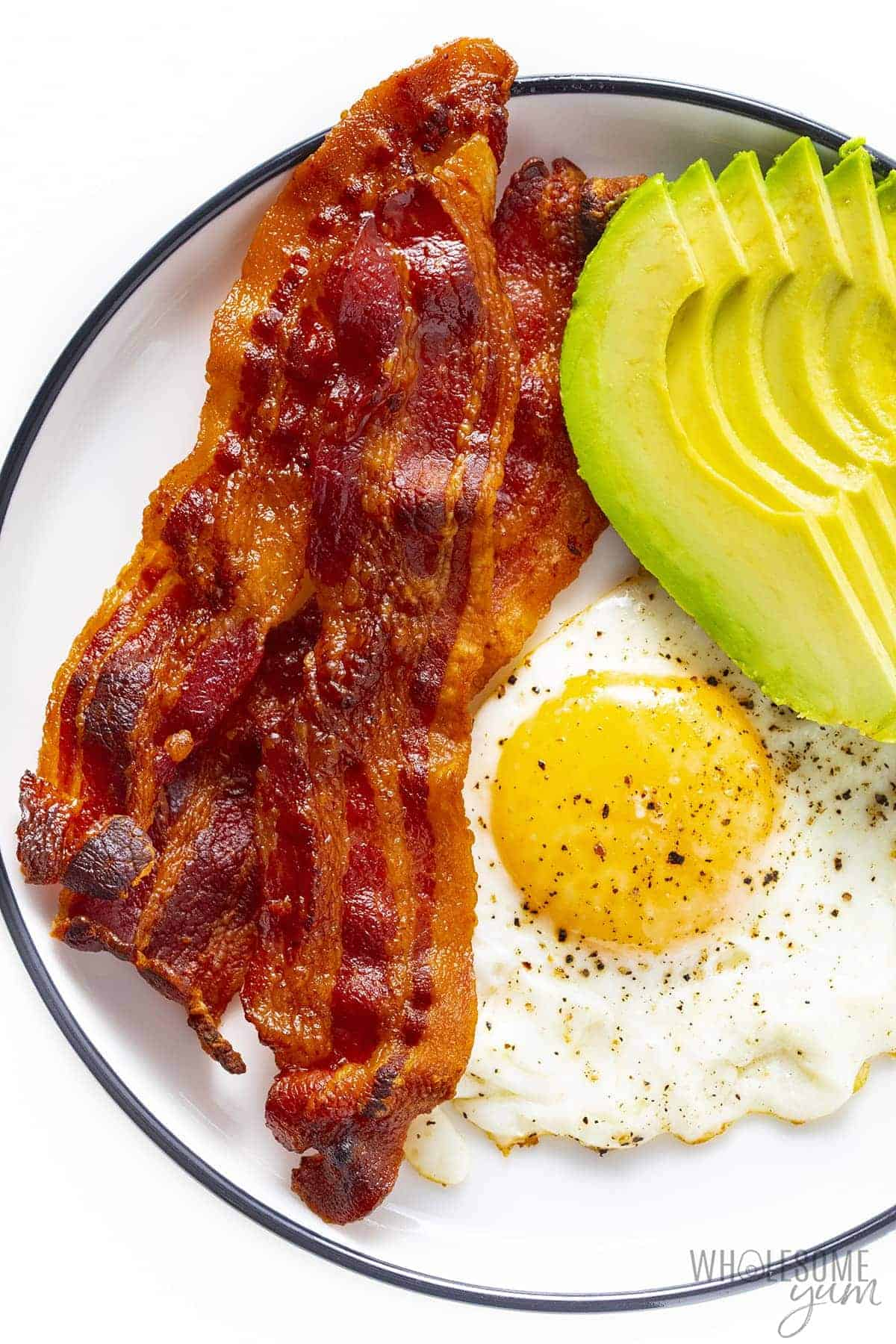 Plate of bacon, egg and avocado