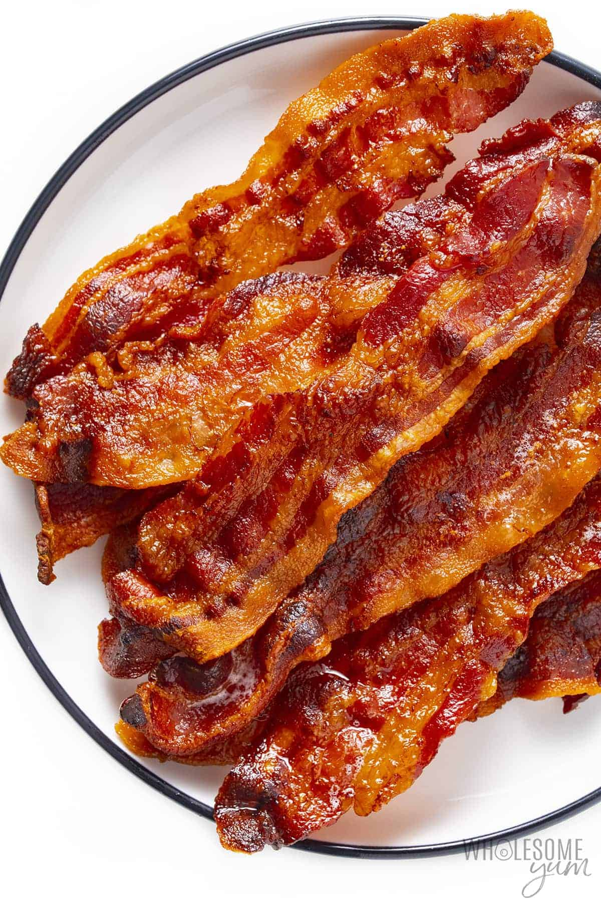 Plate of air fryer bacon