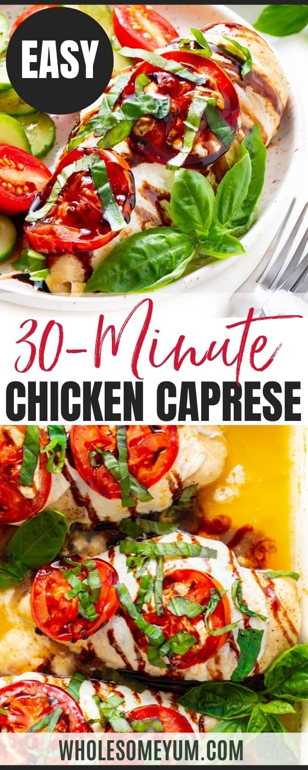 Baked chicken breast Caprese style - recipe pin