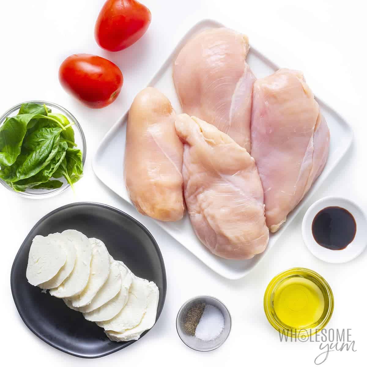 Ingredients to make chicken Caprese recipe