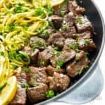 Garlic butter steak bites recipe in a cast iron pan