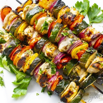 Grilled chicken kabobs with vegetables