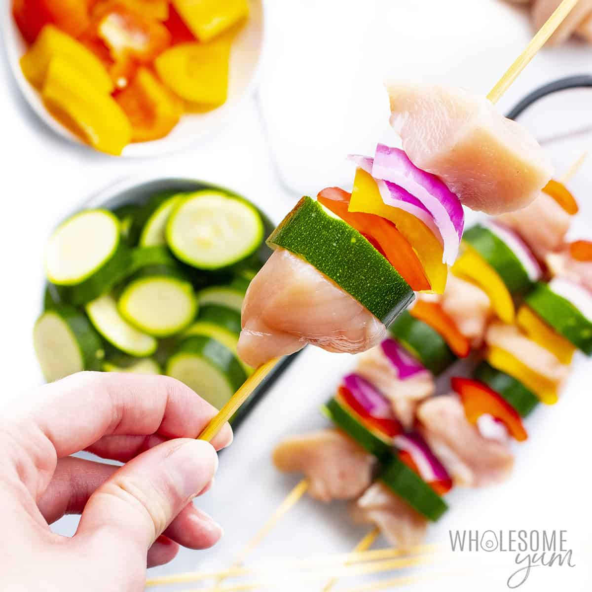 Chicken and veggies on a skewer