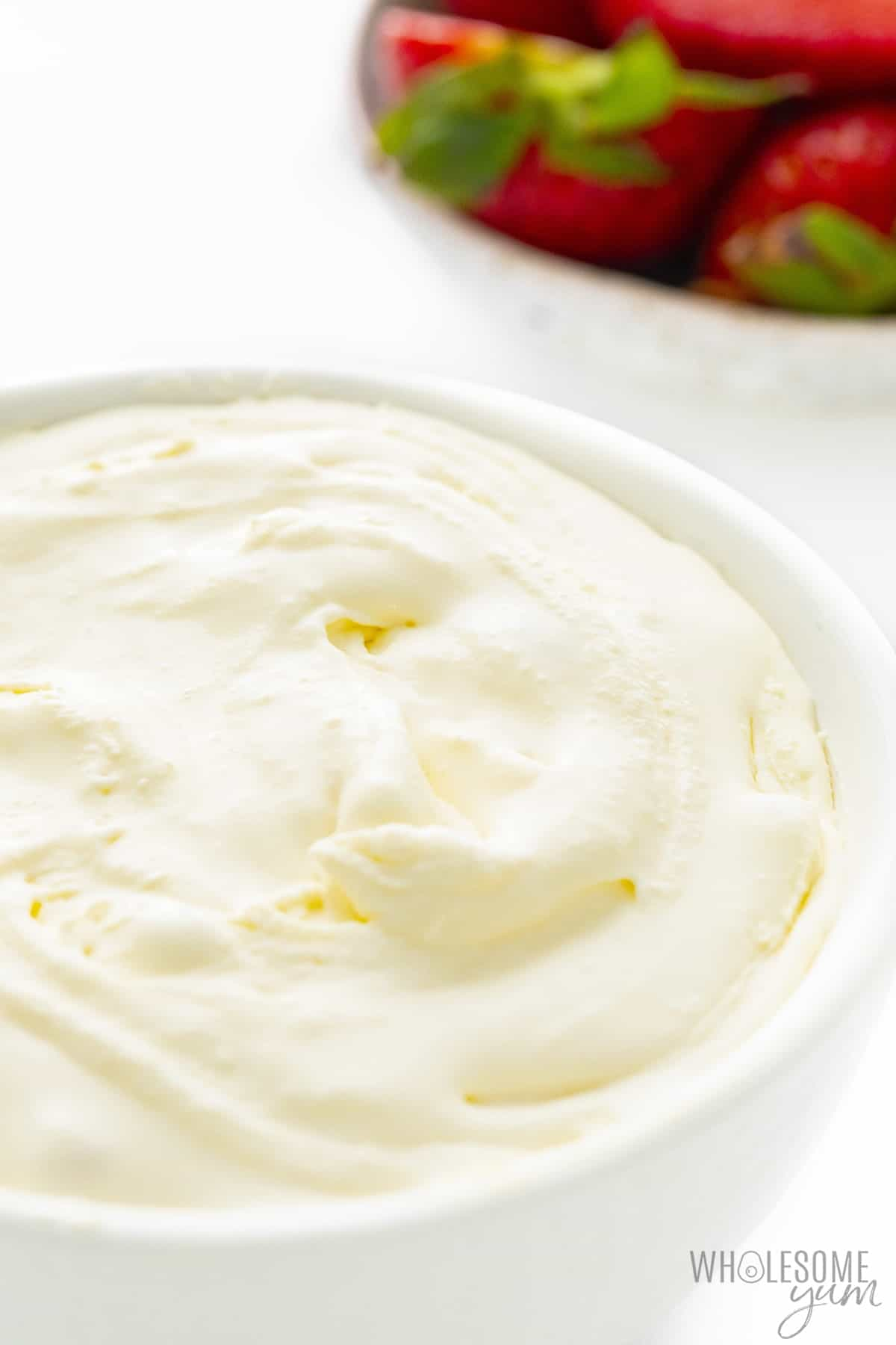 Finished mascarpone cheese in a bowl