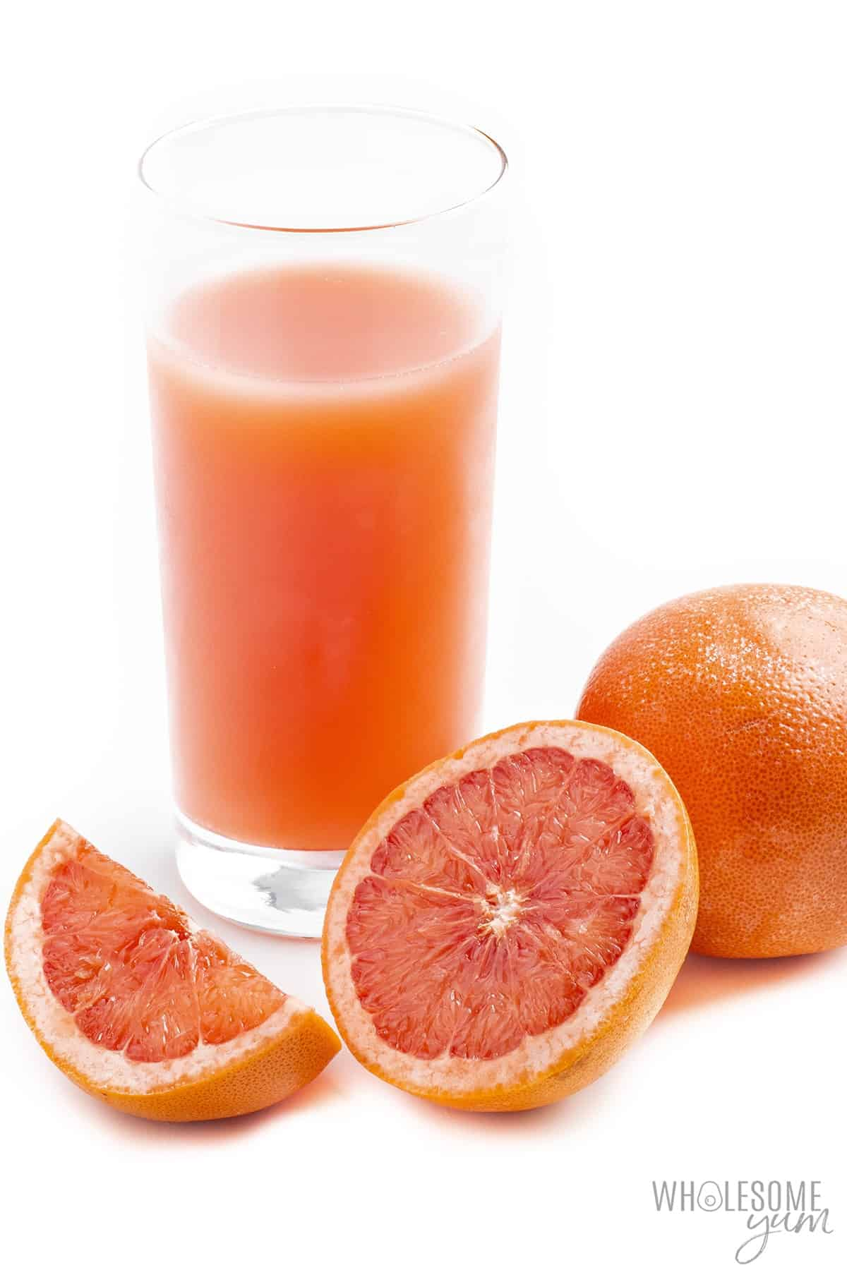 How many carbs in grapefruit? This glass of grapefruit juice with sliced whole grapefruit is too high in carbs for a keto diet.