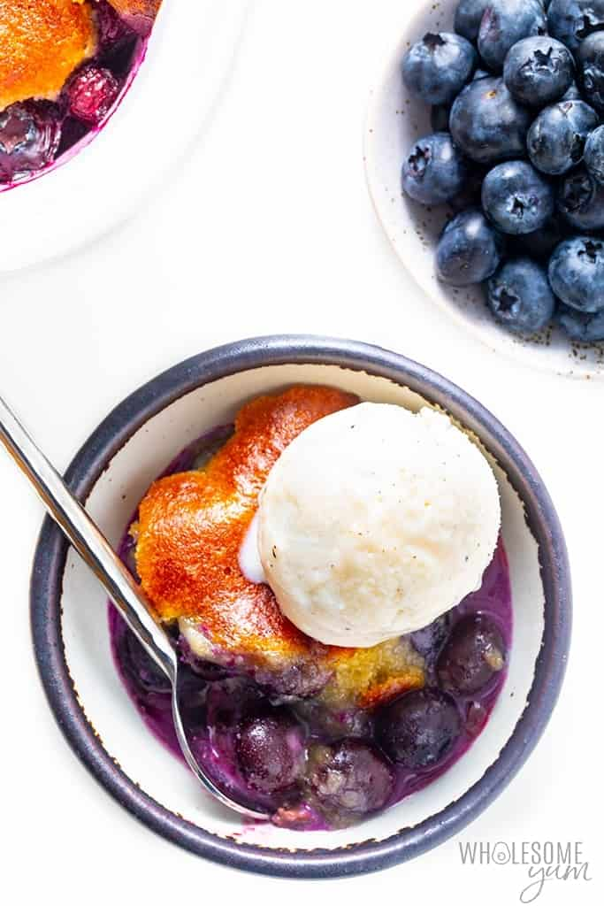 Bowl of healthy blueberry cobbler