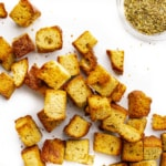 Keto croutons in a pile