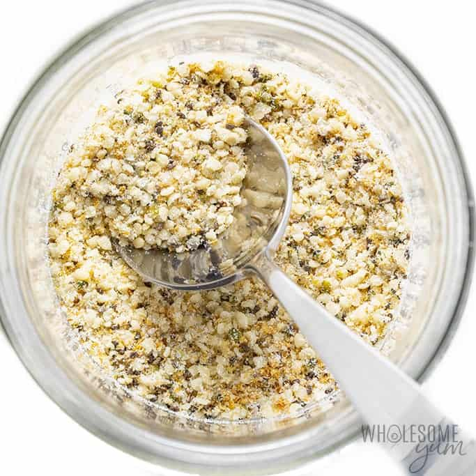 Dry ingredients for low carb overnight oats mixed in a jar