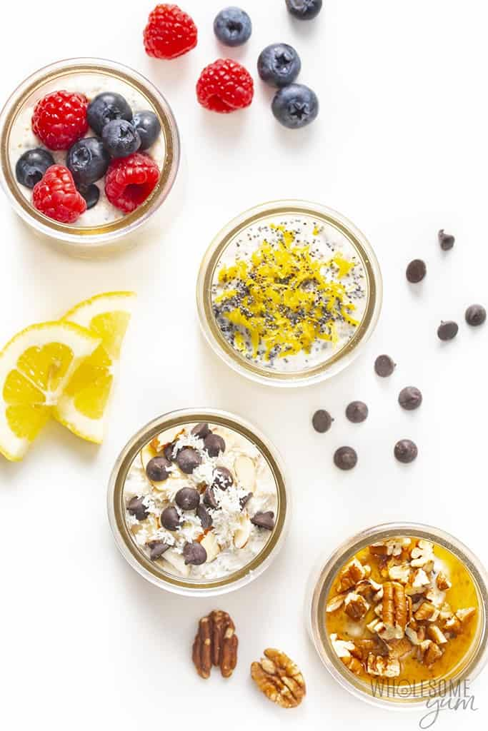 Flavor combinations for keto overnight oats flavors in jars