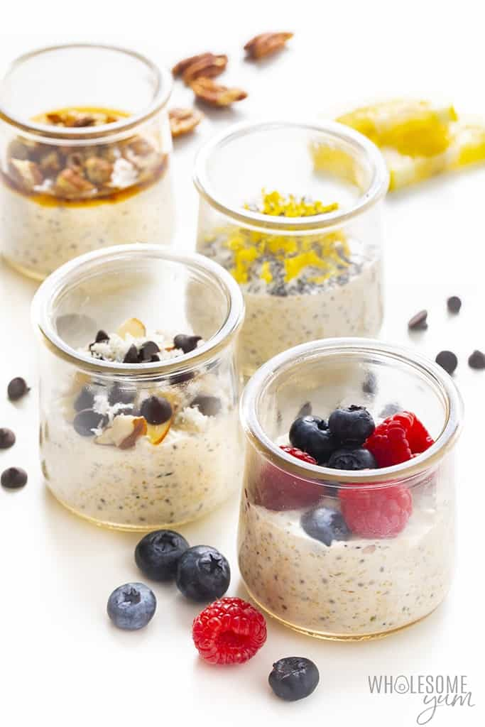 Low carb overnight oats in jars